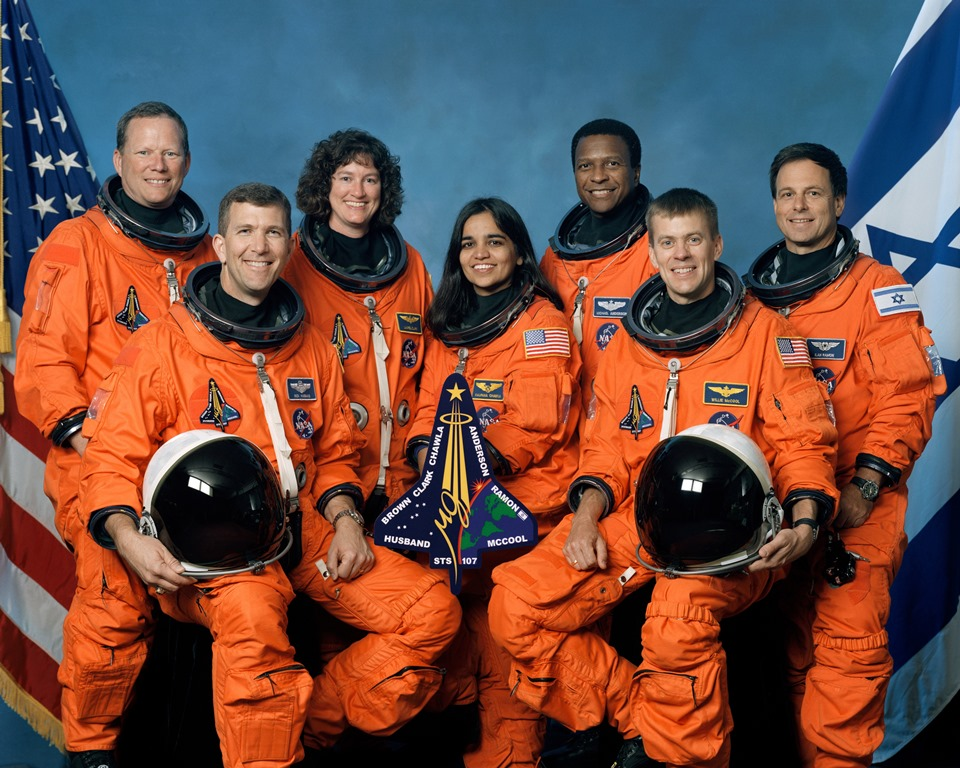 The STS-107 crew includes, from the left, Mission Specialist David Brown, Commander Rick Husband, Mission Specialists Laurel Clark, Kalpana Chawla and Michael Anderson, Pilot William McCool and Payload Specialist Ilan Ramon. Photo Credit: NASA