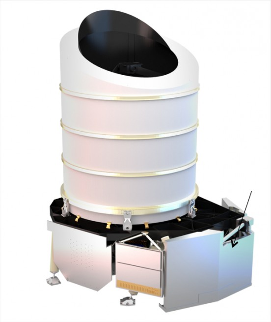 The Euclid spacecraft will carry a payload module (depicted in this drawing) with a 1.2-m-diameter telescope and two state-of-the art scientific instruments: a visible-light camera and a near-infrared camera/spectrometer.