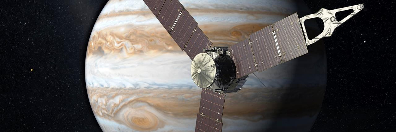 Launching from Earth in 2011, the Juno spacecraft will arrive at Jupiter in 2016 to study the giant planet from an elliptical, polar orbit. Juno will repeatedly dive between the planet and its intense belts of charged particle radiation, coming only 5,000 kilometers (about 3,000 miles) from the cloud tops at closest approach. Image Credit: NASA/JPL-Caltech