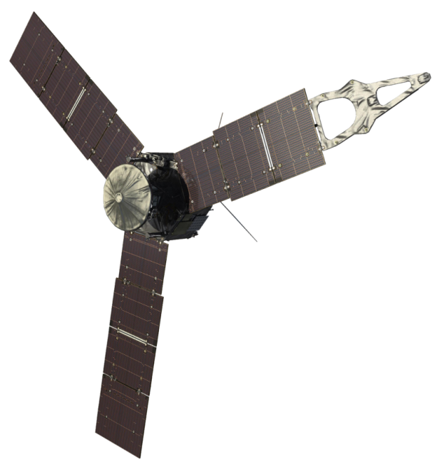 Launched from Earth in 2011, the Juno spacecraft will arrive at Jupiter in 2016 to study the giant planet from an elliptical, polar orbit. Juno will repeatedly dive between the planet and its intense belts of charged particle radiation, coming only 5,000 kilometers (about 3,000 miles) from the cloud tops at closest approach. Image Credit: NASA/JPL-Caltech