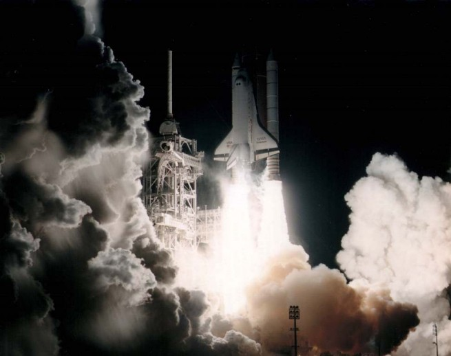 Space Shuttle Endeavour launches on Jan. 11, 1996 on STS-72. Photo Credit: NASA