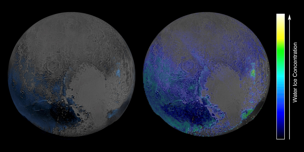 Pluto_H2O_Ice_Composite image credit NASA/Johns Hopkins University Applied Physics Laboratory/Southwest Research Institute