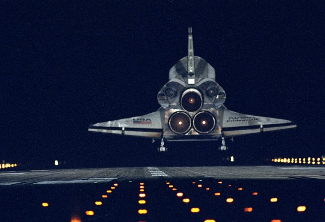 Space shuttle Endeavour touches down at the Shuttle Landing Facility's Runway 15 at Kennedy Space Center in Florida. Photo Credit: NASA