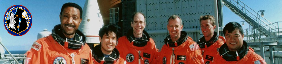 The STS 72 crew of space shuttle Endeavour Winston Scott Dan Barry Brian Duffy Leroy Chiao Brent Jett Koichi Wakata NASA photo posted on SpaceFlight Insider