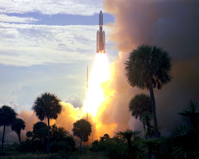 A Titan 3E-Centaur rocket lifts off from Cape Canaveral Air Force Station's Space Launch Complex 41 on Aug. 20, 1975. Photo Credit: NASA
