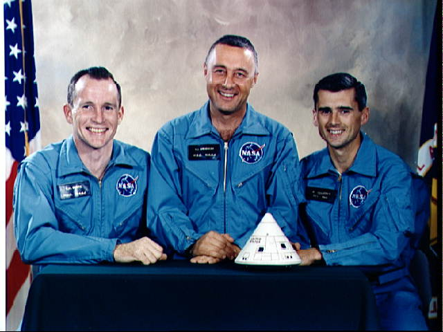 The crew of Apollo 1 Edward White, Gus Grissom and Roger Chaffee NASA photo posted on SpaceFlight Insider