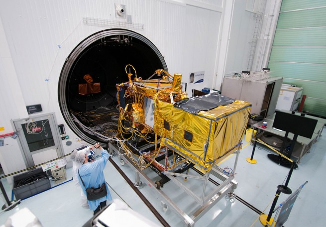 Jason 3 spacecraft in preparation for launch atop SpaceX Falcon 9 rocket from Vandenberg Air Force Base photo credit NOAA posted on SpaceFlight Insider