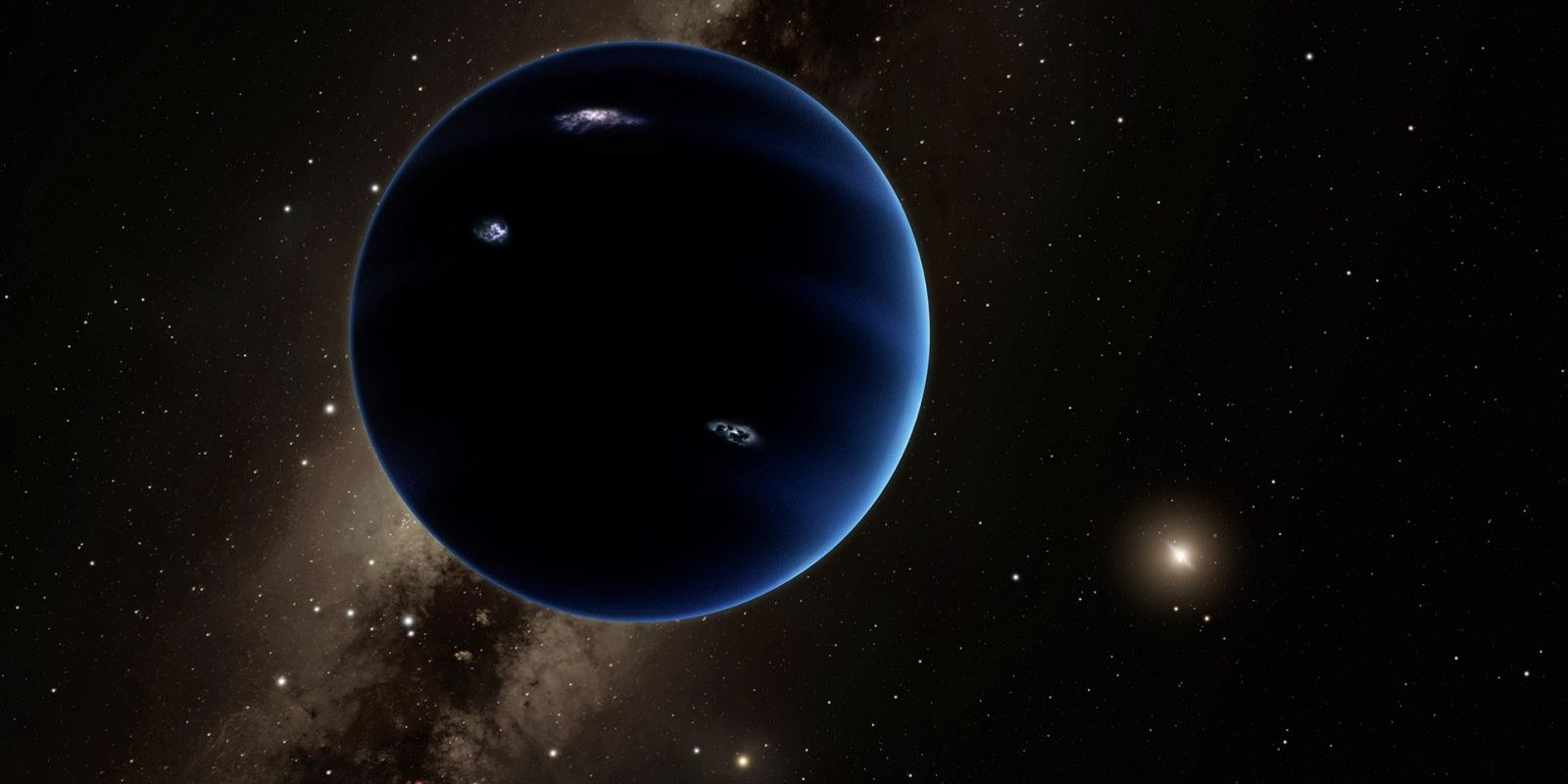 This artistic rendering shows the distant view from Planet Nine back towards the sun. The planet is thought to be gaseous, similar to Uranus and Neptune. Hypothetical lightning lights up the night side. Image Credit: Caltech/R. Hurt (IPAC)