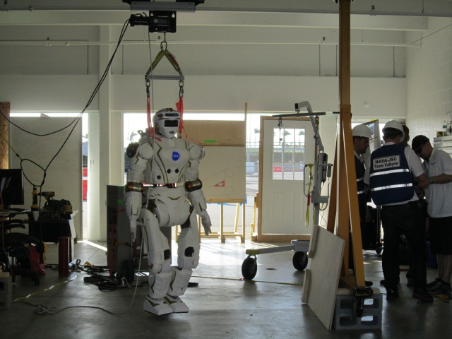 NASA's R5 robot in the team's garage. R5 was built by engineers at NASA's Johnson Space Center in Houston.