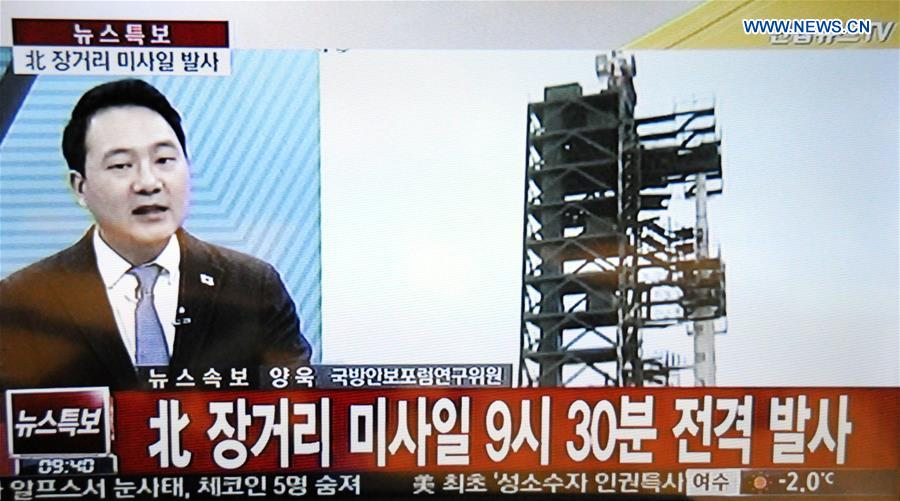 A video grab taken on Feb. 7, 2016 from South Korean TV shows the news report on the launch of a long-range rocket by the Democratic People's Republic of Korea (DPRK), in Seoul, South Korea.