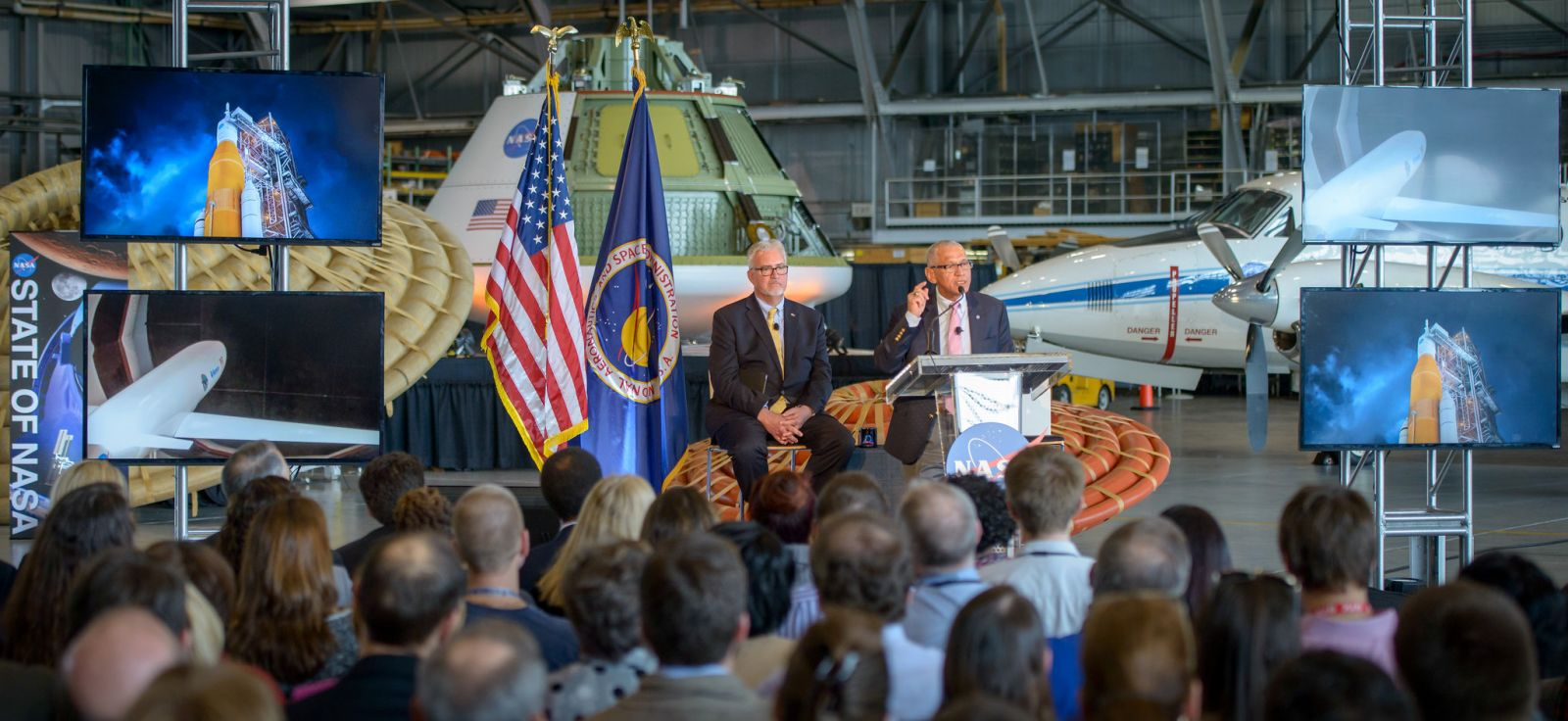 NASA Administrator Charles Bolden talks about the agency's scientific and technological achievements, and cutting-edge future work, including sending American astronauts to Mars in the 2030s, during a State of NASA event, as NASA Langley Center Director Dave Bowles looks on, Tuesday, Feb. 9, 2016 at the NASA Langley Research Center in Hampton, Virginia.