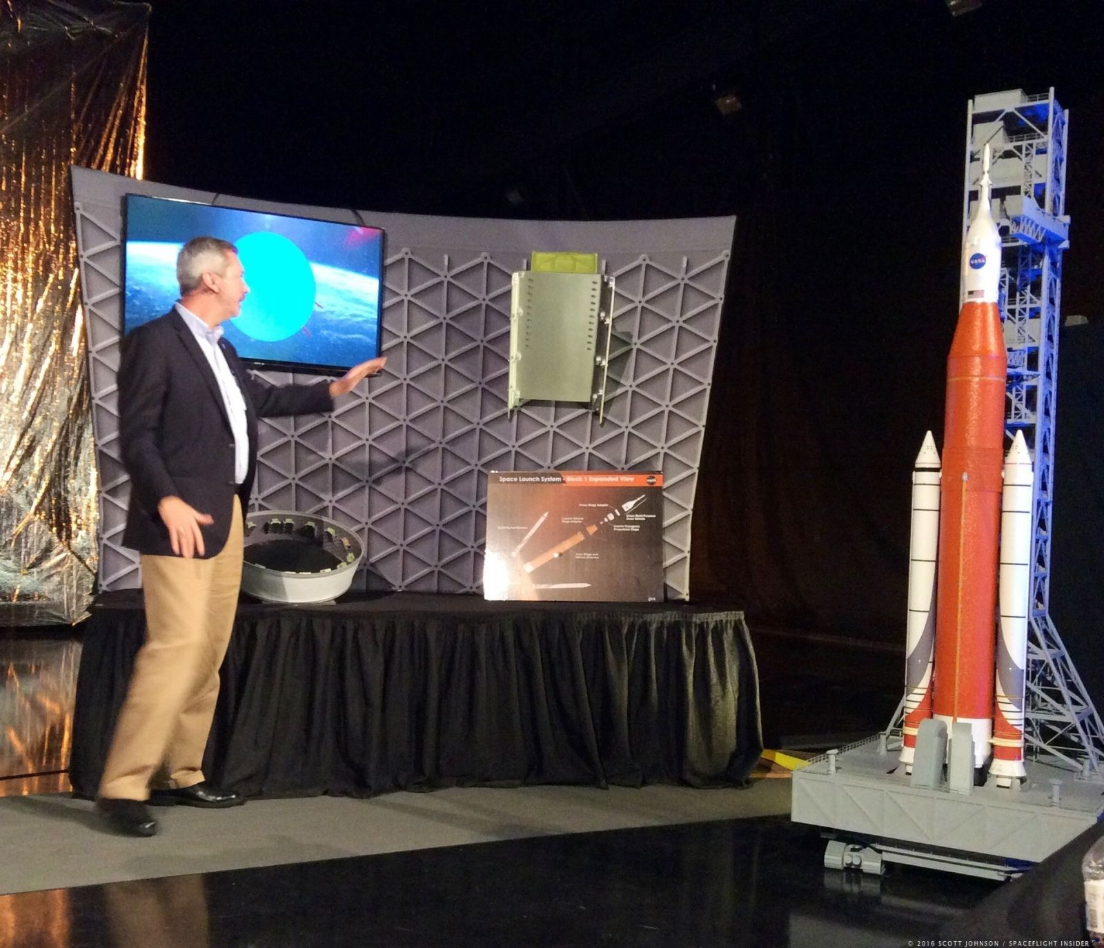 Chris Crumbly, manager of the Space Launch System Spacecraft and Payload Integration/Evolution Office at Marshall discusses how the CubeSats will be deployed via SLS. Photo Credit: Scott Johnson / SpaceFlight Insider