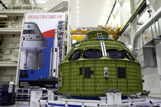 The Orion pressure vessel will now have its other components incorporated onto it. Photo Credit: Michael Howard / SpaceFlight Insider
