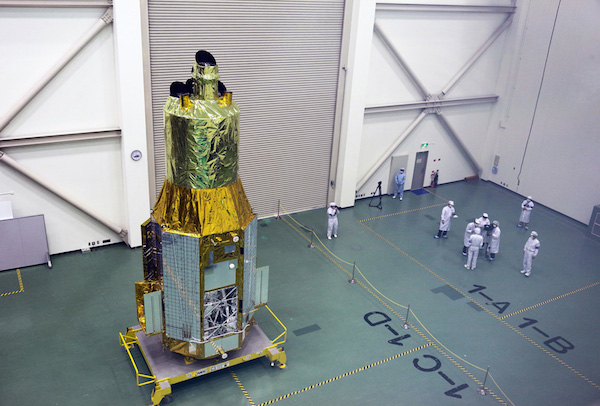 ASTRO-H observatory in JAXA's cleanroom Japan Aerospace Exploration Agency photo posted on SpaceFlight Insider