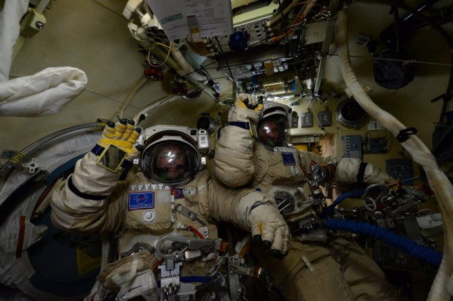 """Our cosmonaut colleagues, Yuri and Sergey are doing a spacewalk right now. Good luck and be safe!"" Scott Kelly tweeted during EVA-42. Photo Credit: Scott Kelly / NASA"