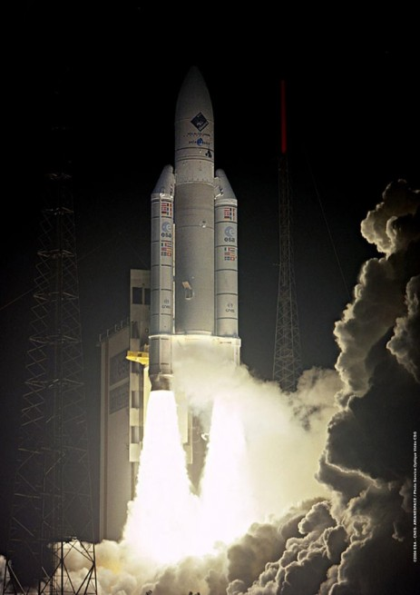 The Ariane 5 booster with Rosetta and the Philae lander lifts off from the Spaceport at Kourou, French Guiana on March 2, 2004. Photo Credit: ESA