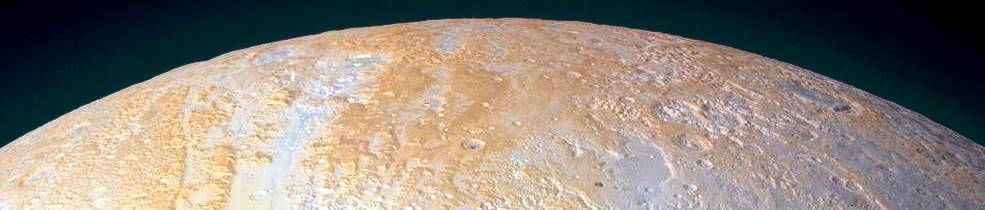 North Pole of Pluto with rotated contrast NASA New Horizons image posted on SpaceFlight Insider