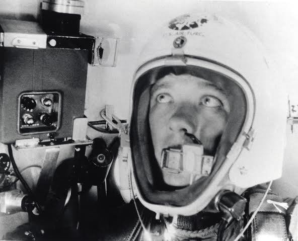 Major David G. Simon, who set a new altitude record of 102,000 feet in