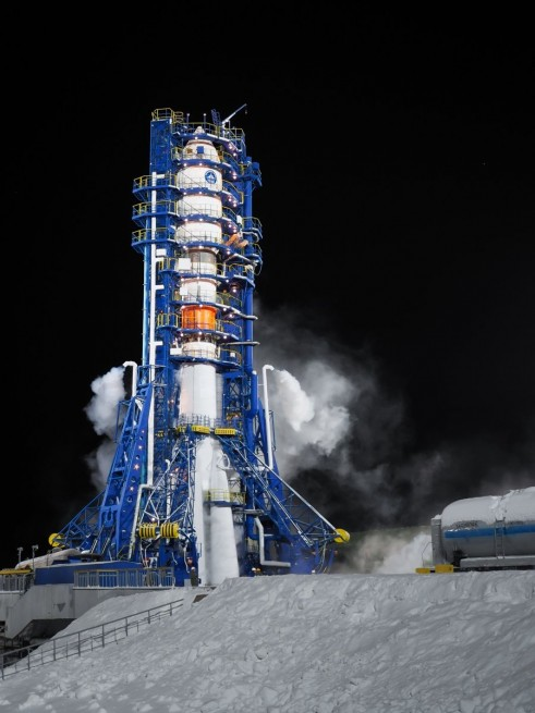 A Soyuz-2.1b rocket with the GLONASS-M No. 51 satellite stands tall at the Plesetsk Cosmodrome
