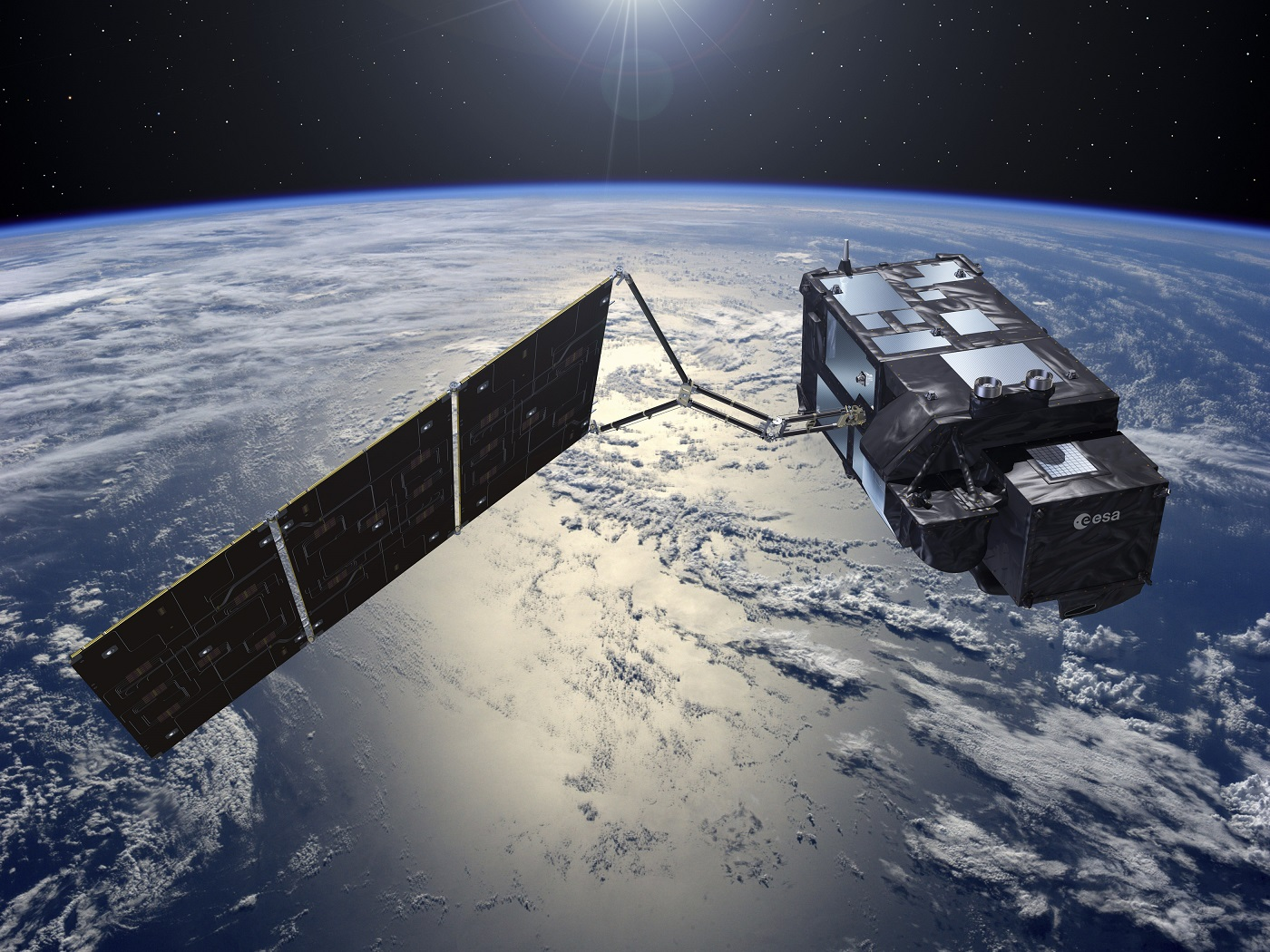 Artist's rendering of the Sentinel-3A satellite in space.