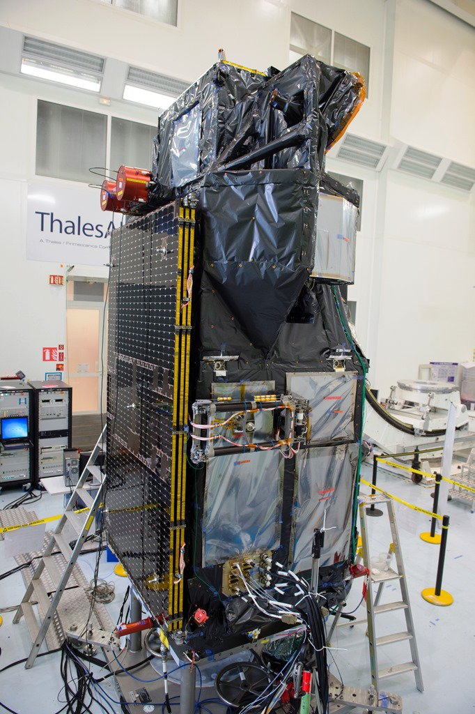 Sentinel 3A in Thales Alenia Space's facility being processed for launch. Photo Credit: Thales Alenia