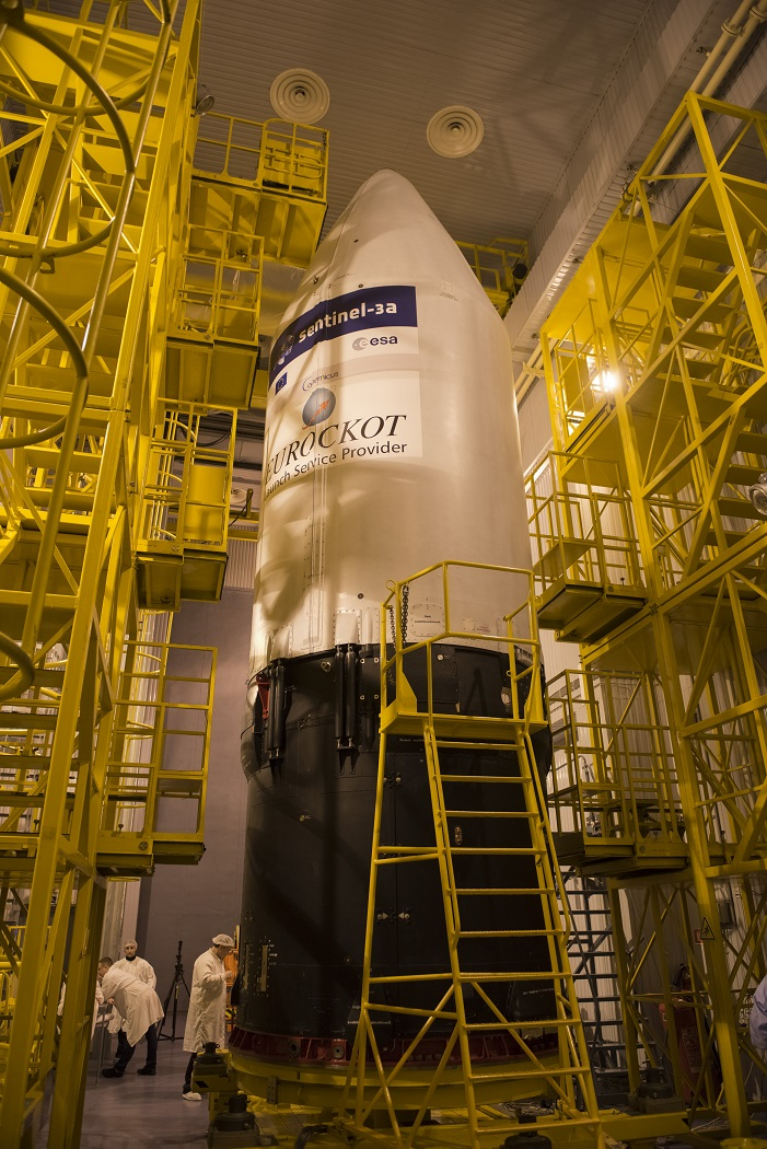 The Sentinel-3A logo has been applied to the Rockot fairing, on Feb. 10, 2016, at the Plesetsk Cosmodrome in northern Russia.