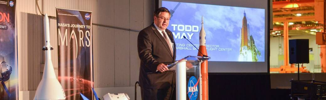 Todd May, Marshall Space Flight Center (MSFC) acting director, speaks at the Michoud Assembly Facility (MAF) on January 26, 2016