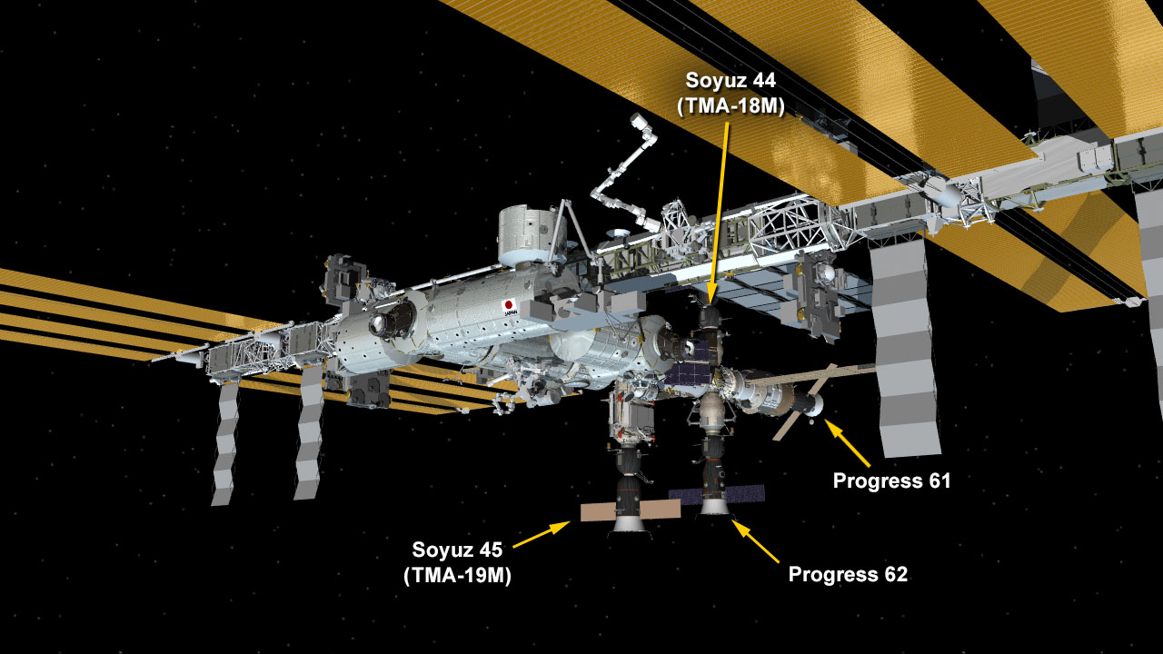 Feb. 19, 2016: International Space Station Configuration. (Clockwise from top) The Soyuz TMA-18M spacecraft is docked to the Poisk mini-research module. The ISS Progress 61 spacecraft is docked to the Zvezda service module. The ISS Progress 62 spacecraft is docked to the Pirs docking compartment. The Soyuz TMA-19M spacecraft is docked to the Rassvet mini-research module. Image Credit: NASA