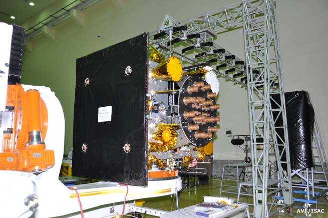 IRNSS-1F in a clean room during its integration.