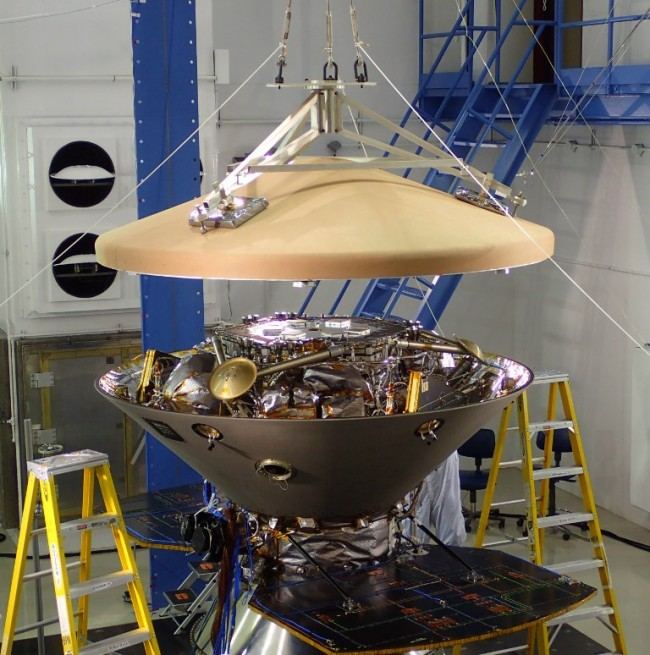 InSight's cruise stage during acoustics testing. Photo Credit: Lockheed Martin