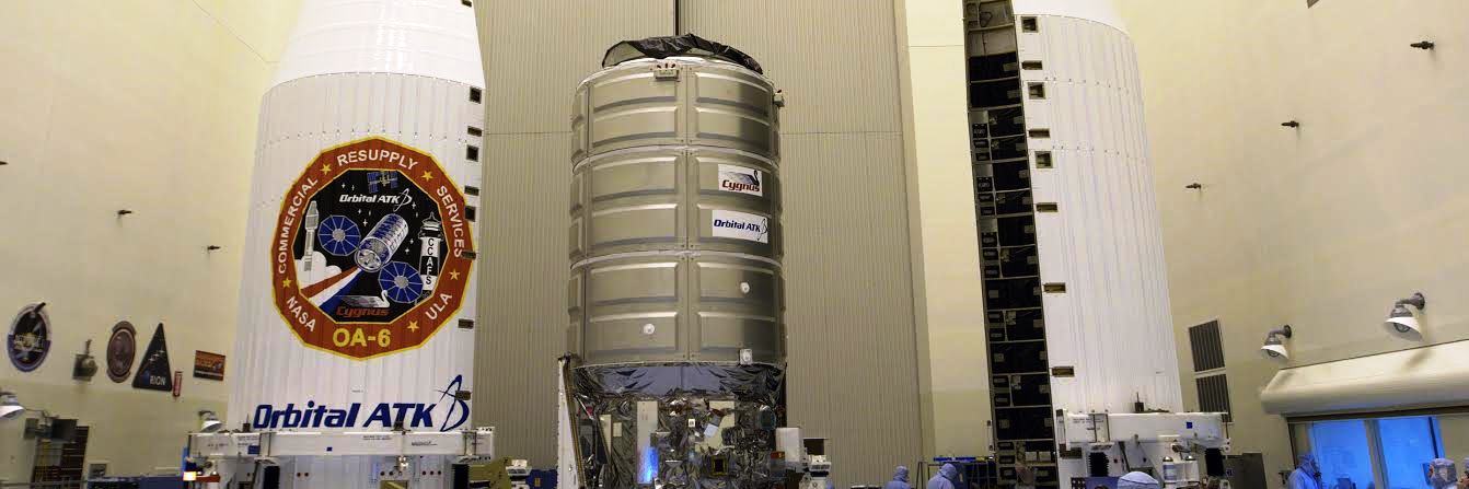 Orbital ATK Cygnus spacecraft at Kennedy Space Center Payload Hazardous Servicing Facility NASA photo posted on SpaceFlight Insider