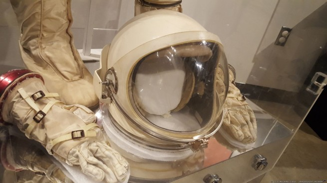 Neil Armstrong's Gemini 8 helmet and gloves on display at the Armstrong Air & Space Museum in Wapakoneta, Ohio, the hometown of Neil Armstrong. Photo Credit: Michael Cole / SpaceFlight Insider