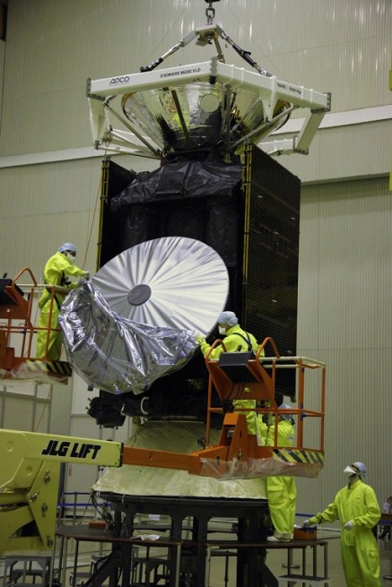 Removal of a protective cover from the high-gain antenna of the ExoMars 2016 Trace Gas Orbiter.