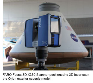 Faro Scanner with Kennedy Space Center Visitor Complex Orion model image credit FARO posted on SpaceFlight Insider