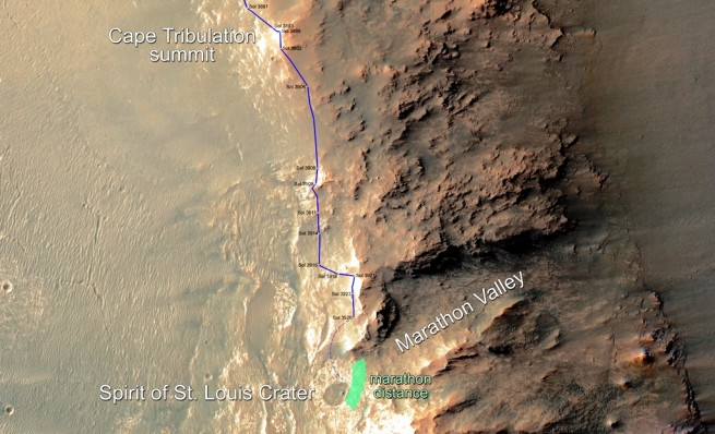 NASA image of Marathon Valley along Opportunity's path image credit NASA JPL Caltech posted on SpaceFlight Insider