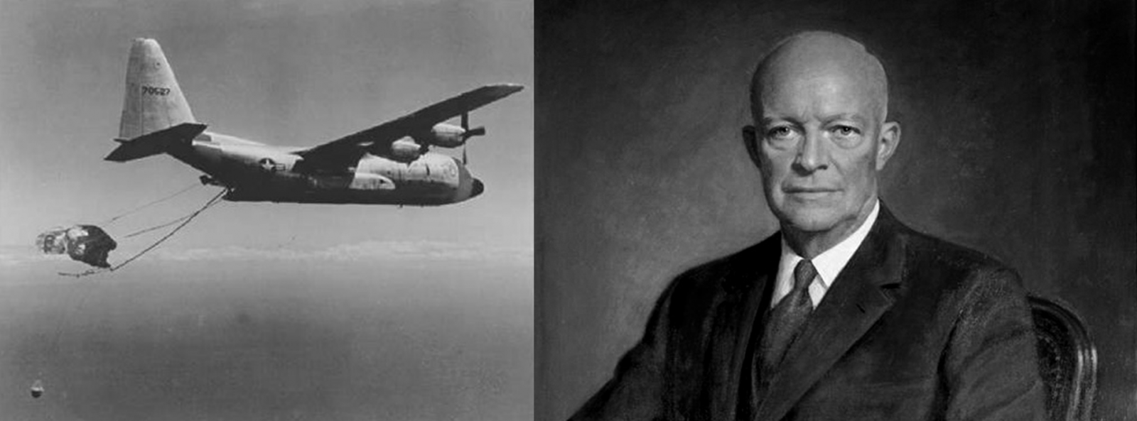 President Dwight D. Eisenhower with Corona satellite pickup by C-130 White House DoD images posted on SpaceFlight Insider