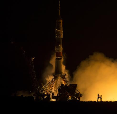 The Soyuz TMA-20M rocket launches from the Baikonur Cosmodrome in Kazakhstan on Saturday, March 19, 2016 carrying Expedition 47 Soyuz Commander Alexey Ovchinin of Roscosmos, Flight Engineer Jeff Williams of NASA, and Flight Engineer Oleg Skripochka of Roscosmos into orbit to begin their five and a half month mission on the International Space Station. Photo and Caption Credit: Aubrey Gemignani / NASA