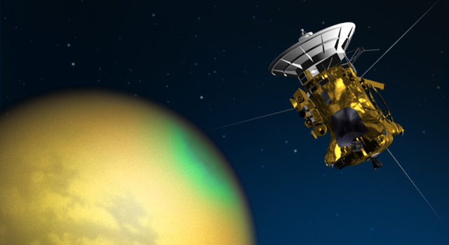 Artist's illustration of NASA's Cassini spacecraft above the Saturnian moon Titan. Image Credit NASA