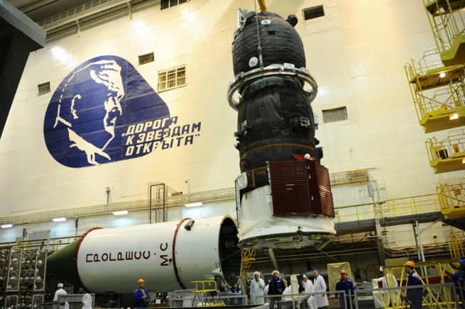 Progress MS-2 spacecraft at the spacecraft assembly and testing facility in Baikonur.