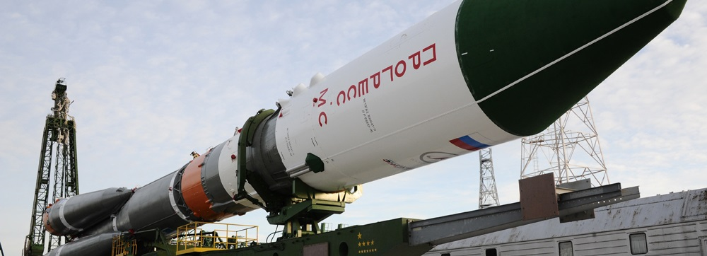 Soyuz 2.1a rocket with the Progress MS-2 spacecraft being installed at the launch pad.