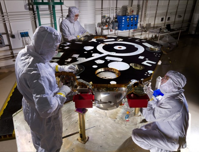 InSight Mars lander in clean room NASA's InSight mission has been spared cancellation. Image Credit: Lockheed Martin