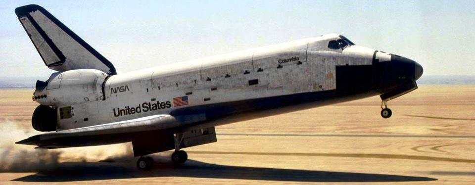 Columbia touches down on Runway 23 at Edwards Air Force Base in California after the completion of STS-1 - the first mission of the shuttle age. Photo Credit: NASA
