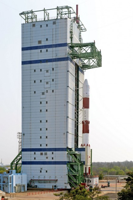 Side view of the fully integrated PLSV-C33 awaiting launch.