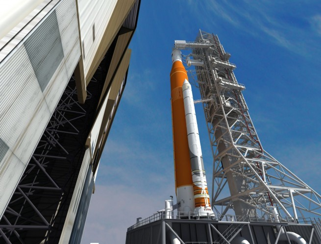 Artist concept of SLS This artist concept depicts the Space Launch System rocket rolling out of the Vehicle Assembly Building at NASA's Kennedy Space Center. SLS will be the most powerful rocket ever built and will launch the agency's Orion spacecraft into a new era of exploration to destinations beyond low-Earth orbit. Image Credit: NASA/Marshall Space Flight Center