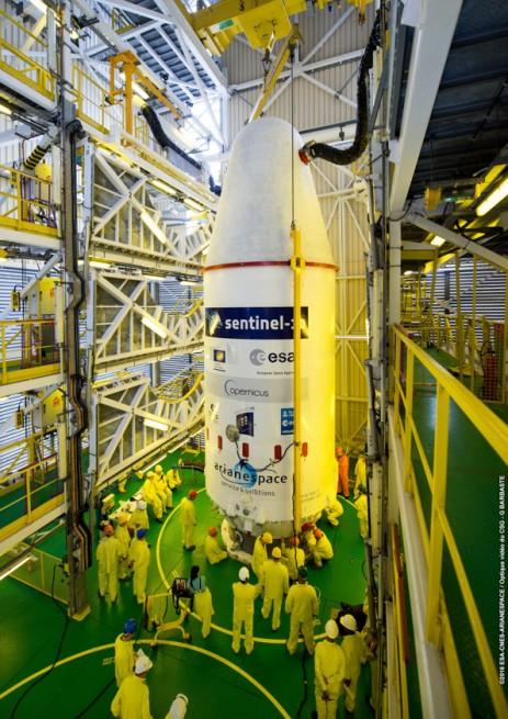 "The ""upper composite"" with Sentinel-1B, Microscope and 'Fly Your Satellite!' is installed atop Soyuz."