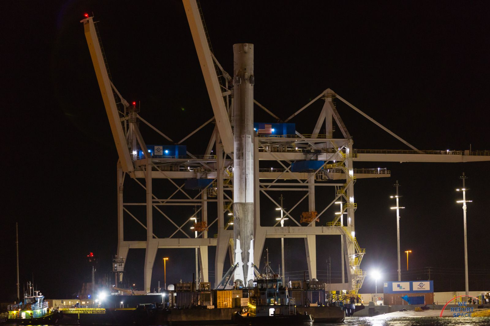 SpaceX Falcon 9 FT first stage at Port Canaveral in Florida Photo Credit: Michael Seeley / We Report Space