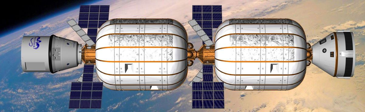 BA 330 with SpaceX Dragon spacecraft docked Bigelow Aerospace image posted on SpaceFlight Insider