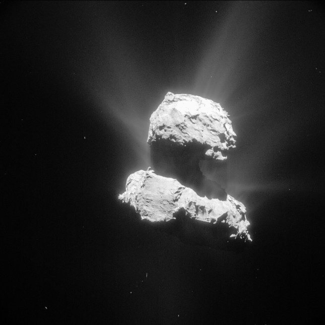 Photo of comet 67P / Churyumov–Gerasimenko ESA_Rosetta_NavCam_20150426_enhanced European Space Agency image posted on SpaceFlight Insider