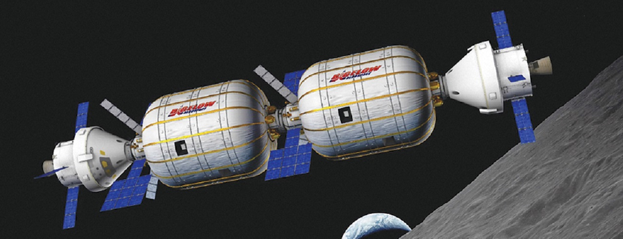 Bigelow space habitats in orbit above the Moon
