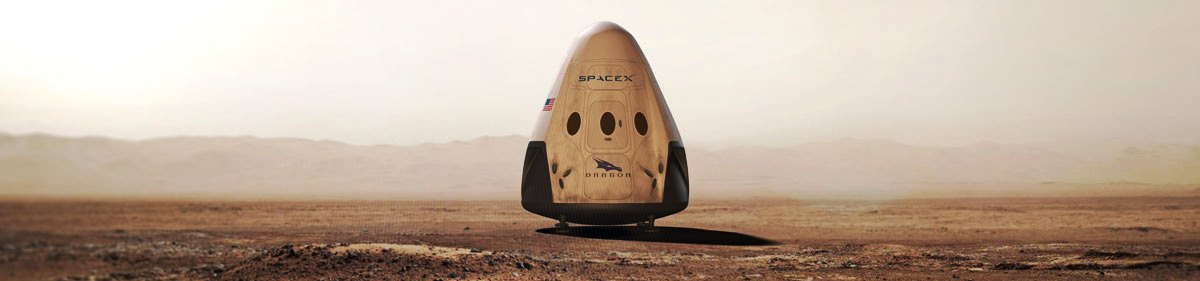 Red Dragon spacecraft on the surface of Mars image credit SpaceX posted on SpaceFlight Insider